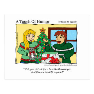 """A Touch of Humor"" Hand Held Massager / Cat Comic Post Card"