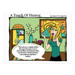 """""""A Touch of Humor"""" Investment Broker Massage Comic Postcard"""