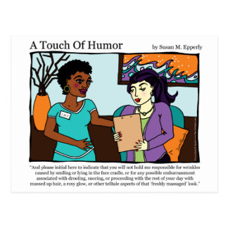 """""""A Touch of Humor"""" Massage Informed Consent Comic Postcard"""