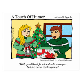 """A Touch of Humor"" Massage Kitty Gift Certificate Postcard"