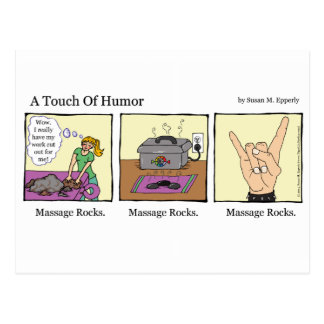 """A Touch of Humor"" Massage Rocks Comic Postcard"