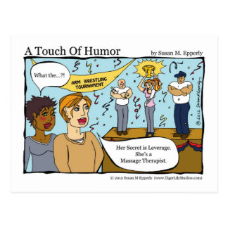 """""""A Touch of Humor"""" Massage Therapist Arm Wrestler Postcard"""