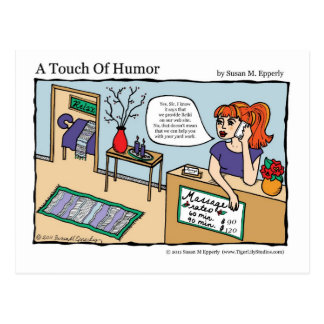 """A Touch of Humor"" Reiki Energy Work Massage Comic Postcard"