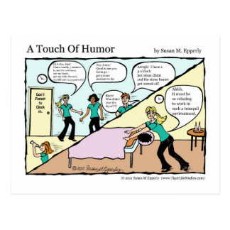 """""""A Touch of Humor"""" Spa Massage Behind the Scenes Postcard"""