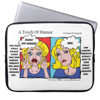 """A Touch of Humor"" Unshaven Legs Comic Laptop Sleeves"