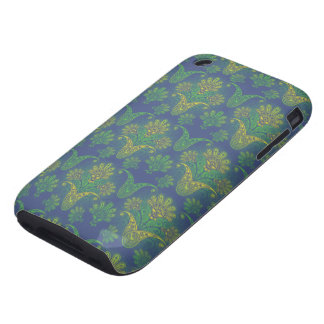 a touch of peacock damask design 2 tough iPhone 3 cases