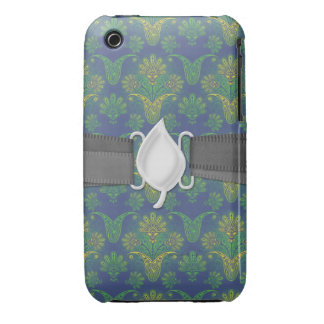 a touch of peacock damask design 2 Case-Mate iPhone 3 cases