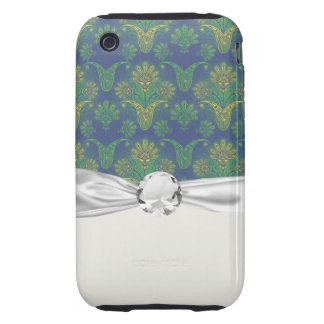 a touch of peacock damask design 2 iPhone 3 tough case