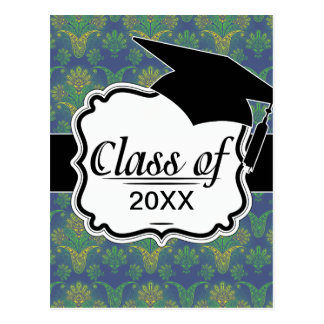 a touch of peacock damask design 2 graduation postcard