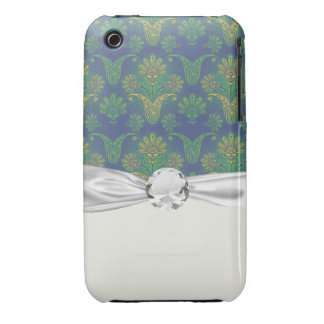 a touch of peacock damask design 2 iPhone 3 cover