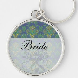 a touch of peacock damask design 2 key chain