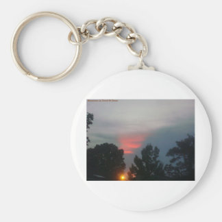 A touch of red. basic round button keychain