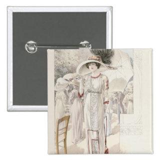 A town dress, from 'Les Grandes Modes de Paris' Pinback Button