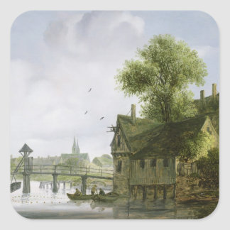 A Town on a river with a bridge Square Sticker