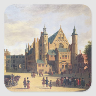 A Town Square in Haarlem Square Sticker