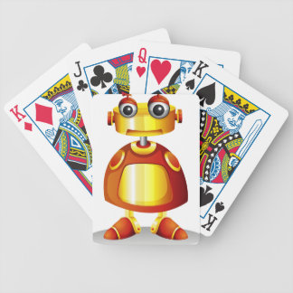 A toy robot bicycle playing cards