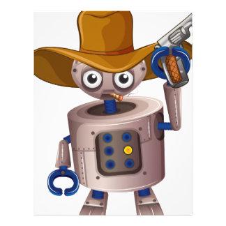 A toy robot holding a gun letterhead