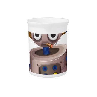 A toy robot holding a gun drink pitcher