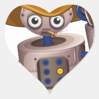 A toy robot holding a gun heart sticker