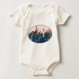 A tractor baby bodysuit