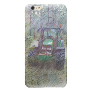 A tractor in the forest glossy iPhone 6 plus case