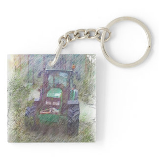 A tractor in the forest keychain