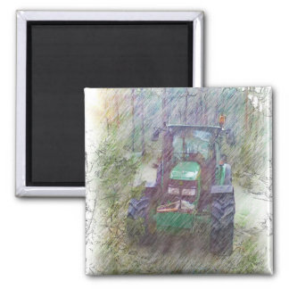 A tractor in the forest magnet