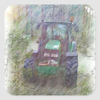 A tractor in the forest square sticker
