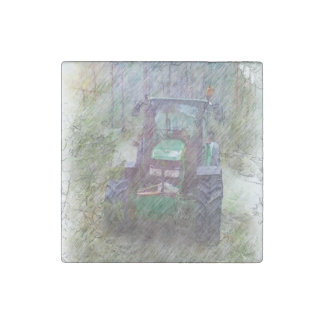 A tractor in the forest stone magnet