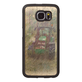 A tractor in the forest wood phone case