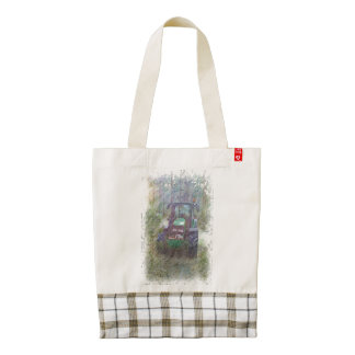 A tractor in the forest zazzle HEART tote bag