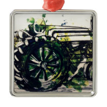 A Tractor! Metal Ornament