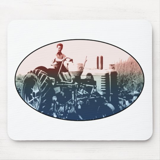 A tractor mouse pad