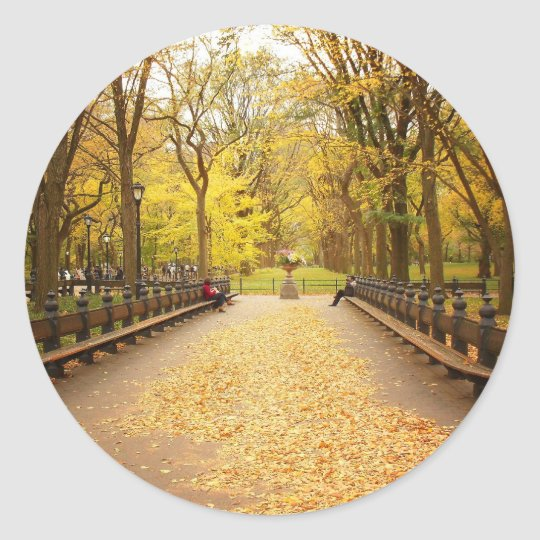 A Trail of Autumn Leaves, Central Park, NYC Classic Round Sticker