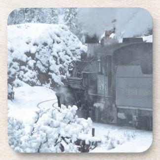 A Train Ride Through a Winter Wonderland Drink Coaster