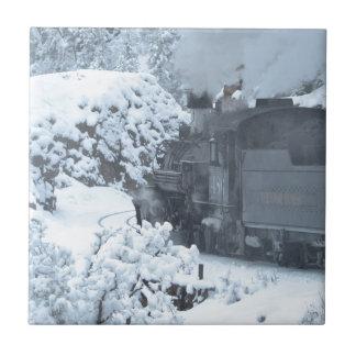 A Train Ride Through a Winter Wonderland Small Square Tile