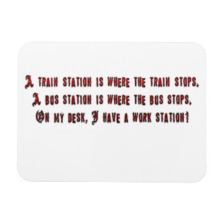 A train station is where the train stops. vinyl magnet