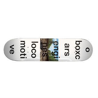 A train themed skateboard. skate board deck