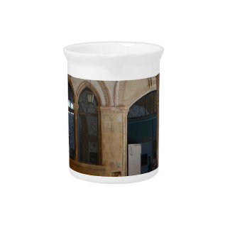 A Tranquil Monastery Cloister in Dubrovnik Beverage Pitcher