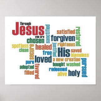 A través de Jesús, usted es… Posters