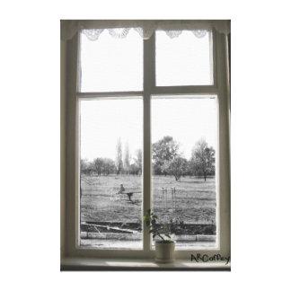 A través de la lona de la ventana impresión en lona