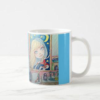 A través de la taza de café del arte de la ventana