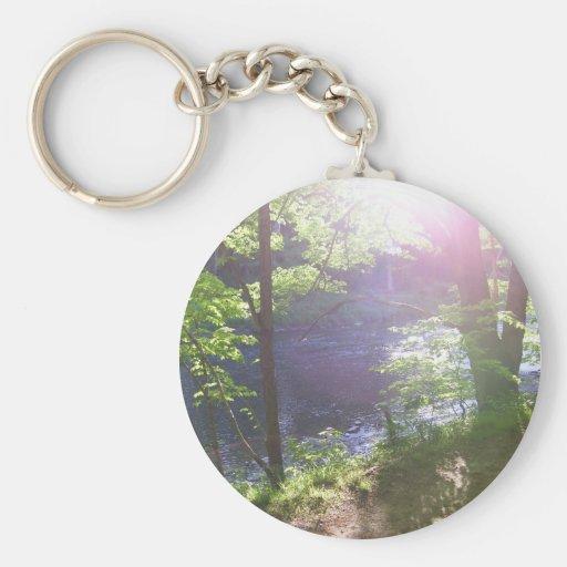 A través de los árboles llavero redondo tipo pin