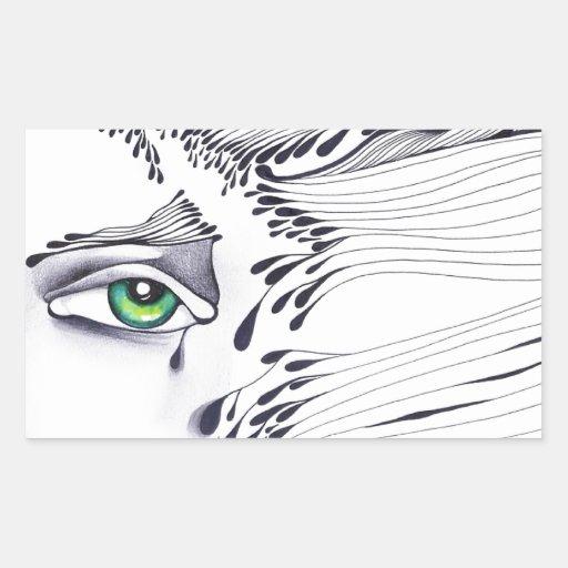 A través de los ojos de una mujer rectangular pegatinas