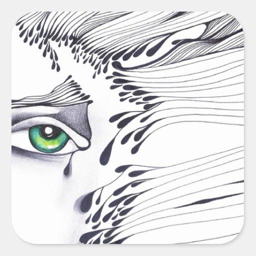 A través de los ojos de una mujer pegatina cuadrada