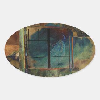 A través de un vidrio oscuro pegatina ovalada