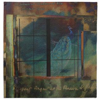 A través de un vidrio oscuro servilleta imprimida