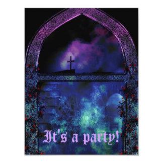"""A través del fiesta de Bachelorette del gótico del Invitación 4.25"""" X 5.5"""""""