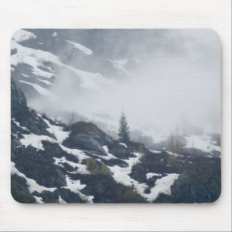 A tree in the mist mousepad