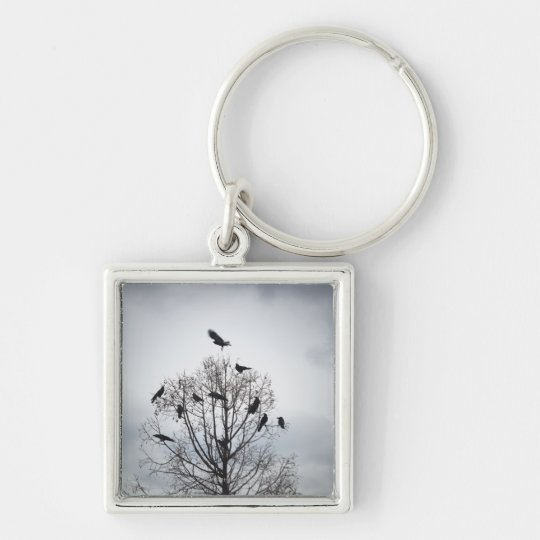 A tree in which many crows have rest keychain